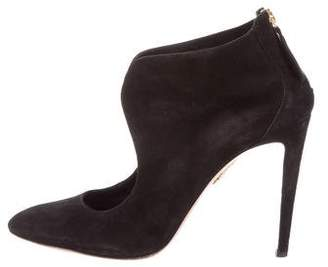Aquazzura Suede Round-Toe Booties