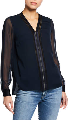 Elie Tahari Vallie Zip-Front V-Neck Long-Sleeve Blouse