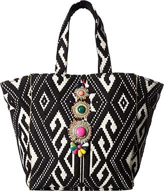 Steve Madden Zena Tribal Geometric Multi Colored Bohemian Fabric Tote Shoulder Beach Handbag