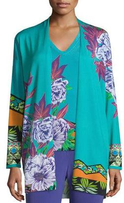 Etro Open-Front Hawaiian Floral Cardigan, Blue $1,325 thestylecure.com