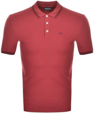 Giorgio Armani Emporio Short Sleeved Polo T Shirt Red