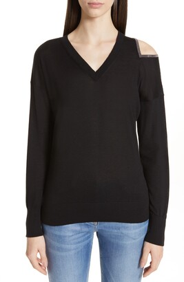 Fabiana Filippi Cold Shoulder Cashmere & Silk Sweater