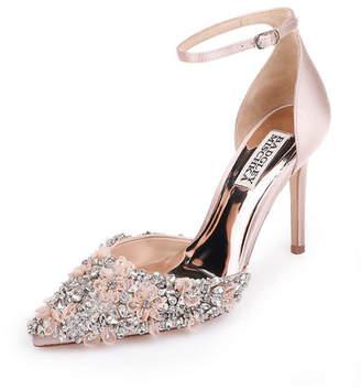 Badgley Mischka Fey Embellished Satin Ankle-Wrap Pumps