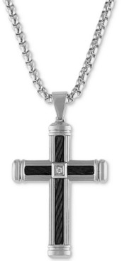 "Macy's Esquire Men's Jewelry Diamond Accent Cross 22"" Pendant Necklace in Stainless Steel & Black Ion-Plate, Created for"