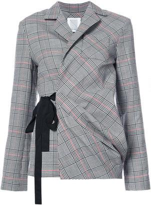 check wrap sash blazer