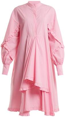 MSGM Stand-collar ruffle-trimmed cotton shirtdress