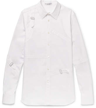 Alexander McQueen Slim-Fit Harness Cotton-Poplin Shirt - White