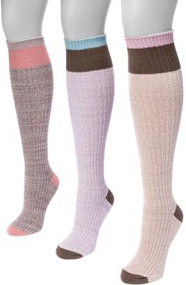 Muk Luks Women's 3 Pair Pack Color Block Knee High Socks