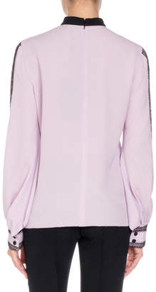 Andrew Gn Long-Sleeve Lace-Trim Silk Blouse w/ Neck Tie