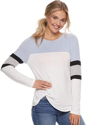 Miss Chievous Juniors' Varsity Striped Twist-Front Colorblock Top