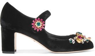 Dolce & Gabbana - Vally Embellished Velvet Mary Jane Pumps - Black $1,345 thestylecure.com
