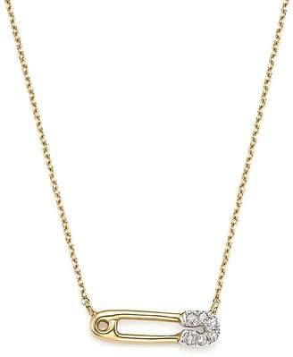 """Adina 14K Yellow Gold Pavé Diamond Safety Pin Necklace, 15"""""""