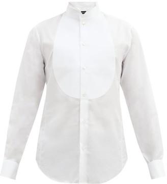 Giorgio Armani Pique Plastron Cotton Poplin Tuxedo Shirt - Mens - White