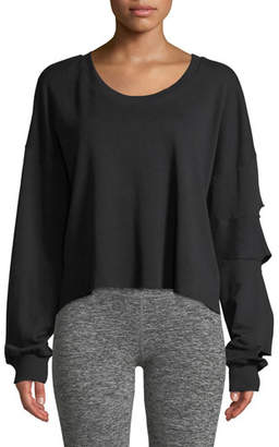 Lanston Slashed-Sleeve Cropped Pullover Sweatshirt
