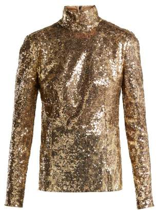 Dolce & Gabbana Leopard Sequined High Neck Top - Womens - Leopard