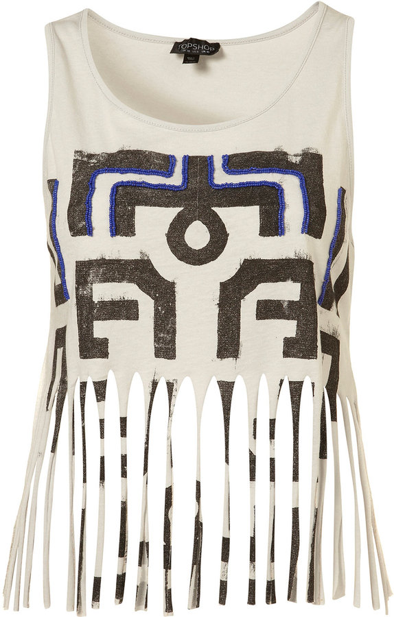 Grey Aztec Beaded Print Crop Fringed Hem Vest