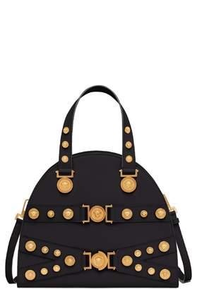 5a35fcf3d998 Versace Tribute Studded Leather Satchel