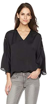 Essentialist Women's Silky V-Neck Blouse with Snap Bell Sleeves