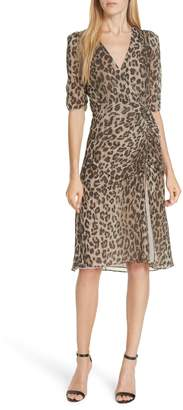 Nicholas Ruched Leopard Print Silk Dress