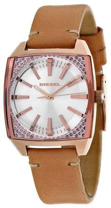 Diesel Women's Becky Stainless Steel Japanese-Quartz Watch with Leather Calfskin Strap