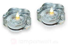 Teelicht Lotte m. LED 2er-Set klar