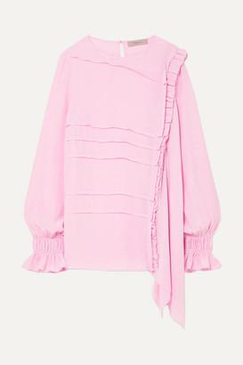 Preen Line Liana Asymmetric Crepe De Chine Top - Baby pink