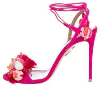 Aquazzura Suede High-Heel Sandals Magenta Suede High-Heel Sandals