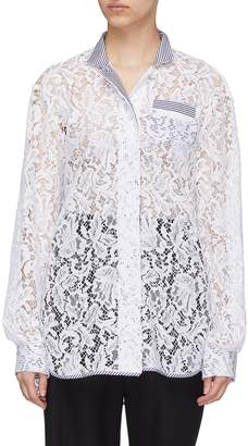 J.Cricket 'Bubble' contrast trim guipure lace blouse