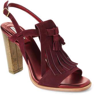 Dries Van Noten Burgundy Tasseled Kiltie Slingback Block Heel Sandals