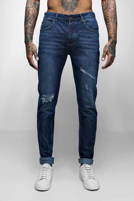 boohoo Skinny Fit Distressed Jeans With Creasing
