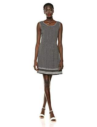Max Studio Women's Pleated Printed Matte Jersey Dress, Black/Ivory Sports and Stripes Panel