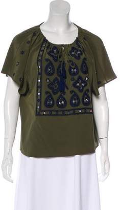 Tory Burch Embroidered Silk Top