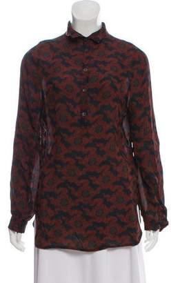 Dries Van Noten Printed Long Sleeve Blouse