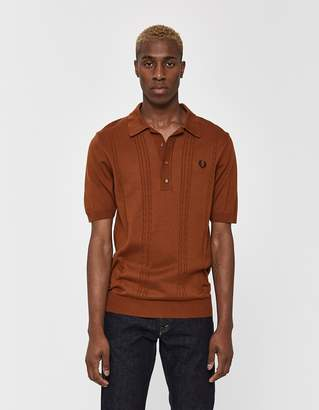 Fred Perry S/S Cable Knitted Polo Shirt in Dark Caramel
