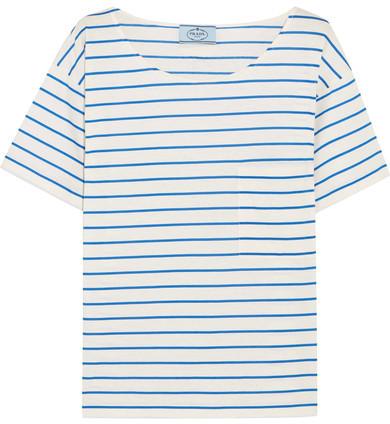 Prada - Striped Cotton-jersey T-shirt - Blue