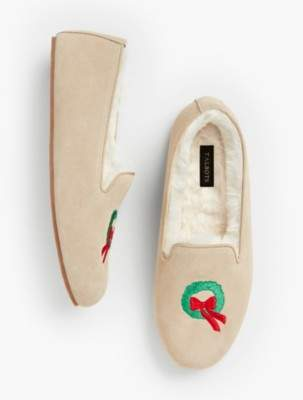 Talbots Fireside Shearling-Lined Slippers - Wreath Design
