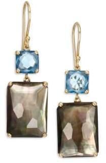 Ippolita Gelato London Blue Topaz, Black Shell, Clear Quartz & 18K Yellow Gold Rectangle Double-Drop Earrings