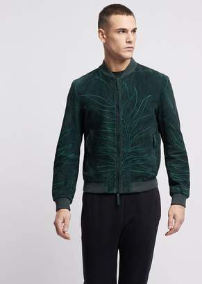 Emporio Armani Suede Leather Bomber Jacket With The Embroidered Leaf From The Collection