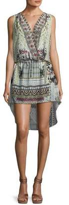 Camilla Crossover Printed Silk High-Low Coverup Dress