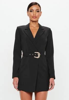 Missguided Belted Blazer Dress Black
