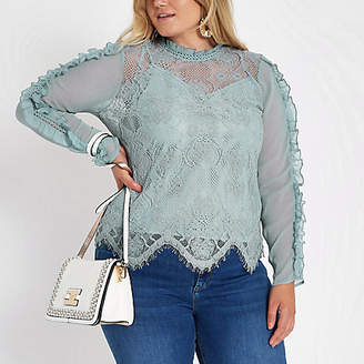 River Island Plus blue lace high neck long sleeve top