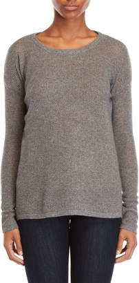Qi Grey Cashmere Open Knit Step Hem Sweater