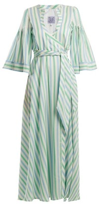 Thierry Colson Sultane Striped Silk Maxi Dress - Womens - Green Stripe