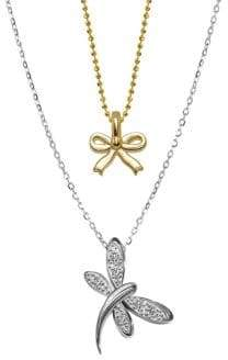 Alex Woo 14K White Gold Dragonfly and Mini Yellow Gold Bow Pendant Necklace