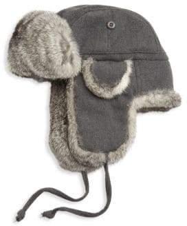 Saks Fifth Avenue COLLECTION Rabbit Fur Aviator Hat