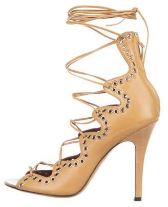 Isabel Marant Leather Peep-Toe Lace-Up Pumps