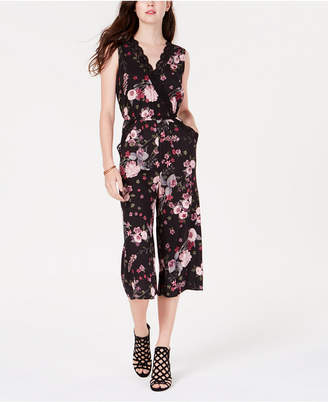 Material Girl Juniors' Lace & Floral Gaucho Jumpsuit