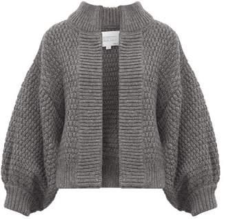 I Love Mr Mittens Balloon Sleeve Moss Stitched Wool Cardigan - Womens - Dark Grey