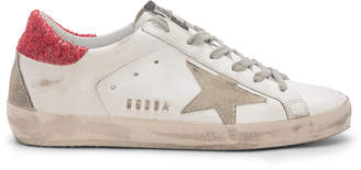 Golden Goose Superstar Sneakers in White Red Glitter & Metal Lettering | FWRD