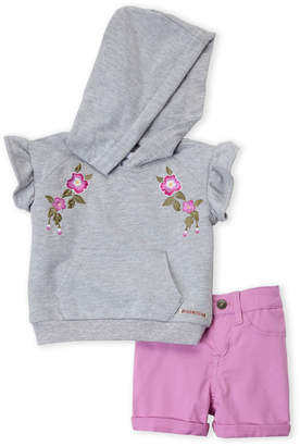 Hudson Toddler Girls) Two-Piece Floral Embroidered Hoodie & Cuffed Shorts Set